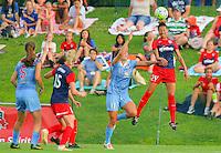 Boyds, MD - Saturday July 09, 2016: Sofia Huerta, Estelle Johnson during a regular season National Women's Soccer League (NWSL) match between the Washington Spirit and the Chicago Red Stars at Maureen Hendricks Field, Maryland SoccerPlex.