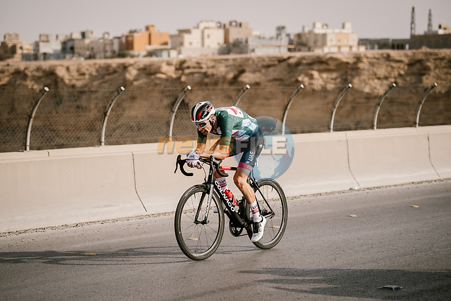 Race leader Rui Costa (POR) UAE Team Emirates during Stage 3 of the Saudi Tour 2020 running 119km from King Saud University to Al Bujairi, Saudi Arabia. 6th February 2020. <br /> Picture: ASO/Pauline Ballet   Cyclefile<br /> All photos usage must carry mandatory copyright credit (© Cyclefile   ASO/Pauline Ballet)