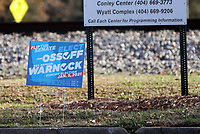 COLLEGE PARK, GA - JANUARY 5: Signs in to downtown Atlanta during the Georgia Senate runoff races on January 5, 2021 in College Park, Georgia. <br /> CAP/MP34<br /> ©MPI34/Capital Pictures
