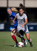 Kailey Blain (25) of Georgetown brings the ball upfield during the game at Shaw Field on the campus of Georgetown University in Washington, DC.  Georgetown tied DePaul, 1-1, in double overtime.