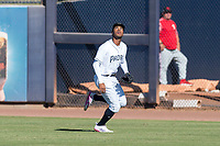 Peoria Javelinas right fielder Buddy Reed (85), of the San Diego Padres organization, pursues a fly ball during an Arizona Fall League game against the Scottsdale Scorpions at Peoria Sports Complex on October 18, 2018 in Peoria, Arizona. Scottsdale defeated Peoria 8-0. (Zachary Lucy/Four Seam Images)