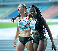1st May 2021; Silesian Stadium, Chorzow, Poland; World Athletics Relays 2021. Day 1; Cynthia Bolingo is helped off the track by Couckuyt of Belgium after running her second race of the day