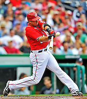 25 September 2011: Washington Nationals first baseman Chris Marrero makes contact on an inside pitch during a game against the Atlanta Braves at Nationals Park in Washington, DC. The Nationals shut out the Braves 3-0 to take the rubber match third game of their 3-game series - the Nationals' final home game for the 2011 season. Mandatory Credit: Ed Wolfstein Photo
