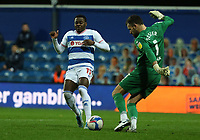 Ben Foster of Watford clears the ball away from Bright Osayi-Samuel of Queens Park Rangers during Queens Park Rangers vs Watford, Sky Bet EFL Championship Football at The Kiyan Prince Foundation Stadium on 21st November 2020