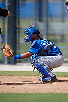 Toronto Blue Jays catcher Geyber Jimenez (55) awaits a pitch during a Florida Instructional League game against the Pittsburgh Pirates on September 20, 2018 at the Englebert Complex in Dunedin, Florida.  (Mike Janes/Four Seam Images)