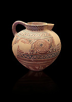 Spherical jug spiral and floral decorated. Early Cycladic I (1650-1550 BC); Phylakopi; Melos. National Archaeological Museum Athens. Cat No 5818. Black background.<br /> <br /> <br /> During this Cycladic period the pottery designs were heavily influenced by Cretean minoan with pottery.