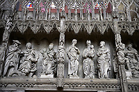 16th century flamboyant gothic Choir screen and ambulatory of the Cathedral of Chartres, France. A UNESCO World Heritage Site.