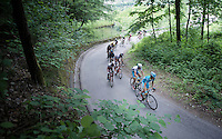 first group (behind the race leaders) up corner 31 of the Passo Del Mortirolo (1854m) with Mikel Landa (ESP/Astana) & Fabio Aru (ITA/Astana) leading the way<br /> <br /> stage 16: Pinzolo - Aprica (174km) of the 2015 Giro d'Italia