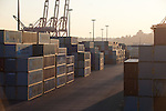 Seattle, Port of Seattle, Harbor Island, shipping containers, container cranes, maritime trade, sunrise, Puget Sound, Washington State, Pacific Northwest, USA