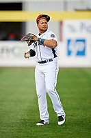 Binghamton Rumble Ponies right fielder Jhoan Urena (24) warms up prior to a game against the Erie SeaWolves on May 14, 2018 at NYSEG Stadium in Binghamton, New York.  Binghamton defeated Erie 6-5.  (Mike Janes/Four Seam Images)