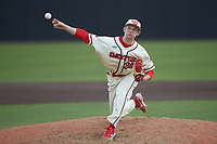 Dayton Flyers relief pitcher Parker Bard (26) in action against the Campbell Camels at Jim Perry Stadium on February 28, 2021 in Buies Creek, North Carolina. The Camels defeated the Flyers 11-2. (Brian Westerholt/Four Seam Images)
