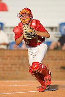 Robert Stock #35 of the Johnson City Cardinals chases a runner back to third base at Howard Johnson Stadium June 27, 2009 in Johnson City, Tennessee. (Photo by Brian Westerholt / Four Seam Images)
