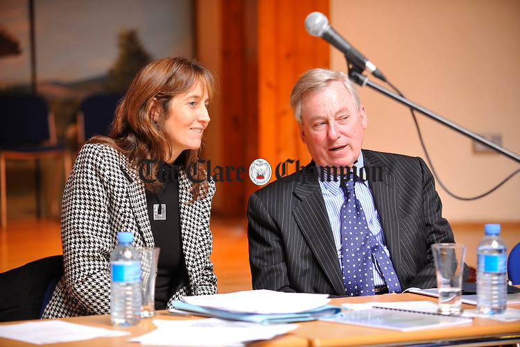"""Anita Pannell,  report author, with Maurice Manning,. president of the Irish Human Rights Commission, at the launch of """"experiences and Perspectives of Ennis Travellers of the County Clare Traveller Accomodation Programme 2000-2004. Photograph by John Kelly."""