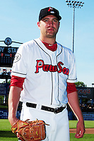 Brian Johnson (38) of the Pawtucket Red Sox poses for a photo prior to the game versus the Louisville Bats at McCoy Stadium on May 30, 2015 in Pawtucket, Rhode Island.<br /> (Ken Babbitt/Four Seam Images)