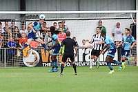 Dayle Southwell of Wycombe Wanderers heads the ball clear during the Friendly match between Maidenhead United and Wycombe Wanderers at York Road, Maidenhead, England on 30 July 2016. Photo by Alan  Stanford PRiME Media Images.