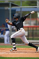 GCL Marlins Lorenzo Hampton (38) at bat during a Gulf Coast League game against the GCL Mets on August 11, 2019 at St. Lucie Sports Complex in St. Lucie, Florida.  The Marlins defeated the Mets 3-2 in the second game of a doubleheader.  (Mike Janes/Four Seam Images)