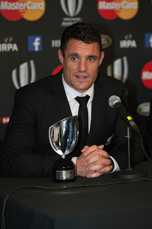Dan Carter of New Zealand speaks to the media at the World Rugby Awards 2015  - 01/11/2015 - Battersea Evolution, London<br /> Mandatory Credit: Rob Munro/Stewart Communications