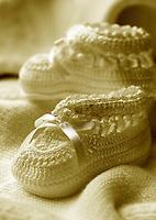 Sepia tone baby booties