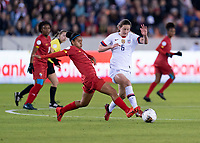 HOUSTON, TX - JANUARY 31: Maria Guevara #7 of Panama tackles the ball away from Andi Sullivan #6 of the United States during a game between Panama and USWNT at BBVA Stadium on January 31, 2020 in Houston, Texas.
