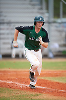Dartmouth Big Green catcher Kyle Holbrook (9) runs to first base during a game against the Southern Maine Huskies on March 23, 2017 at Lake Myrtle Park in Auburndale, Florida.  Dartmouth defeated Southern Maine 9-1.  (Mike Janes/Four Seam Images)