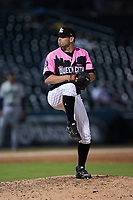 Charlotte Knights relief pitcher Kyle Kubat (4) in action against the Gwinnett Stripers at Truist Field on July 17, 2021 in Charlotte, North Carolina. (Brian Westerholt/Four Seam Images)