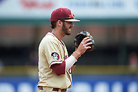 Florida State Seminoles third baseman Dylan Busby (28) on defense against the North Carolina Tar Heels in the 2017 ACC Baseball Championship Game at Louisville Slugger Field on May 28, 2017 in Louisville, Kentucky. The Seminoles defeated the Tar Heels 7-3. (Brian Westerholt/Four Seam Images)