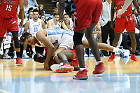 CHAPEL HILL, NC - NOVEMBER 01: Armando Bacot #5 of the University of North Carolina fights for a loose ball during a game between Winston-Salem State University and University of North Carolina at Dean E. Smith Center on November 01, 2019 in Chapel Hill, North Carolina.