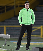 BOGOTA - COLOMBIA, 29-05-2018: Jorge Almiron técnico de Atlético Nacional gesticula durante partido de ida contra Atlético Huila por la semifinal de la Liga Águila I 2018 jugado en el estadio Nemesio Camacho El Campin en la ciudad de Bogotá. / Jorge Almiron coach of Atletico Nacional gestures during first leg match against Atletico Huila for the semifinal of the Aguila League I 2018 played at Nemesio Camacho El Campin in Bogota city. VizzorImage/ Gabriel Aponte / Staff