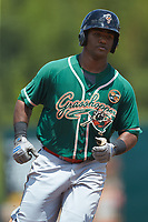 Isael Soto (15) of the Greensboro Grasshoppers rounds the bases after hitting a solo home run against the Kannapolis Intimidators at Kannapolis Intimidators Stadium on August 5, 2018 in Kannapolis, North Carolina. The Grasshoppers defeated the Intimidators 2-1 in game one of a double-header.  (Brian Westerholt/Four Seam Images)