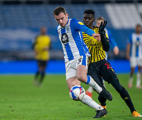 19th December 2020 The John Smiths Stadium, Huddersfield, Yorkshire, England; English Football League Championship Football, Huddersfield Town versus Watford;  Harry Toffolo on the ball as Ismaïla Sarr of Watford  chases down