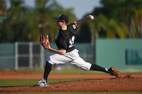 Edgewood Eagles pitcher Bridger Berrett (24) during the first game of a doubleheader against the Plymouth State Panthers on March 17, 2015 at Terry Park in Fort Myers, Florida.  Edgewood defeated Plymouth State 12-3.  (Mike Janes/Four Seam Images)