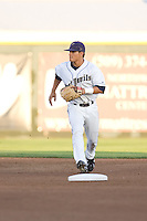 August 21, 2008:  Tri-City Dust Devils' Thomas Field covers second base during a Northwest League game against the Yakima Bears at Gesa Stadium in Pasco, Washington.