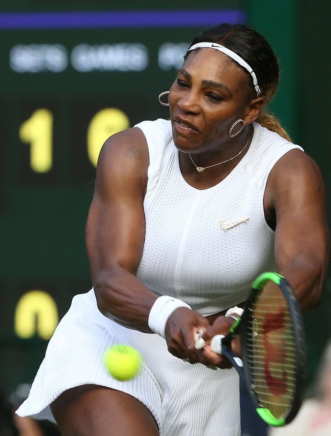 Serena Williams (USA) during her match against Giulia Gatto-Monticone in their Ladies' Singles First Round match<br /> <br /> Photographer Rob Newell/CameraSport<br /> <br /> Wimbledon Lawn Tennis Championships - Day 2 - Tuesday 2nd July 2019 -  All England Lawn Tennis and Croquet Club - Wimbledon - London - England<br /> <br /> World Copyright © 2019 CameraSport. All rights reserved. 43 Linden Ave. Countesthorpe. Leicester. England. LE8 5PG - Tel: +44 (0) 116 277 4147 - admin@camerasport.com - www.camerasport.com