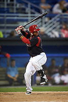 Batavia Muckdogs designated hitter Angel Reyes (30) at bat during a game against the Vermont Lake Monsters August 9, 2015 at Dwyer Stadium in Batavia, New York.  Vermont defeated Batavia 11-5.  (Mike Janes/Four Seam Images)