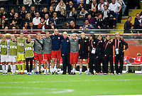 USA bench, coaches, Pia Sundhage.  Japan won the FIFA Women's World Cup on penalty kicks after tying the United States, 2-2, in extra time at FIFA Women's World Cup Stadium in Frankfurt Germany.