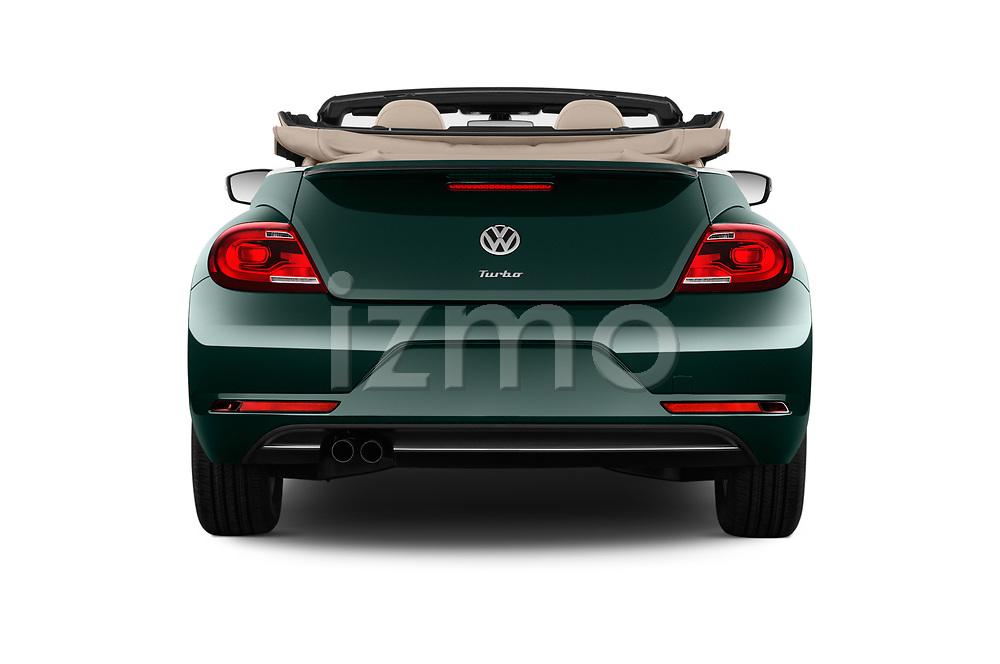 Straight rear view of 2017 Volkswagen Beetle S 2 Door Convertible Rear View  stock images