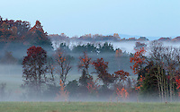 Morning fog fills the fall color trees in a valley in Greene County, VA. Photo/Andrew Shurtleff