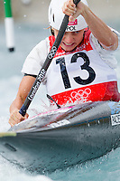 02 AUG 2012 - CHESHUNT, GBR - Natalia Pacierpnik (POL) of Poland makes her semi final run during the women's Kayak Single (K1) during the London 2012 Olympic Games event at Lee Valley White Water Centre, Cheshunt, Great Britain .(PHOTO (C) 2012 NIGEL FARROW)