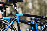Geraitn Thomas' Team Sky Pinarello K8s bike at sign on before the start of the 113th edition of the Paris-Roubaix 2015 cycle race held over the cobbled roads of Northern France. 12th April 2015.<br /> Photo: Eoin Clarke www.newsfile.ie