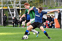 Taylor Schrijvers of the Miramar Rangers competes for the ball with Chris Larking of the Wainuiomata AFC during the Central League Football - Miramar Rangers AFC v Wainuiomata AFC at David Farrington Park, Wellington, New Zealand on Saturday 17 April 2021.<br /> Copyright photo: Masanori Udagawa /  www.photosport.nz