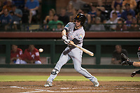 Salt River Rafters left fielder Brian Miller (10), of the Miami Marlins organization, swings at a pitch during an Arizona Fall League game against the Scottsdale Scorpions at Scottsdale Stadium on October 12, 2018 in Scottsdale, Arizona. Scottsdale defeated Salt River 6-2. (Zachary Lucy/Four Seam Images)