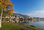 Schweiz, Graubuenden, Oberengadin, St. Moritzsee und St. Moritz Dorf   Switzerland, Graubuenden, Upper Engadin and St. Moritz Village