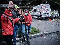 BOGOTÁ - COLOMBIA, 09-09-2020:Disturbios en el CAI de Villaluz por la muerte por brutalidad policiaca del abogado Javier Ordóñez./ Disturbances in the CAI of Villaluz due to the death by police brutality of the lawyer Javier Ordóñez.. / Photo: VizzorImage / Alejandro Avendaño / Cont.