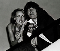 Jagger Hall6706.JPG<br /> New York, NY 1978 FILE PHOTO<br /> Mick Jagger Jerry Hall<br /> Studio 54<br /> Digital photo by Adam Scull-PHOTOlink.net<br /> ONE TIME REPRODUCTION RIGHTS ONLY<br /> NO WEBSITE USE WITHOUT AGREEMENT<br /> 718-487-4334-OFFICE  718-374-3733-FAX