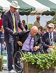 David Hall (AUS) receives his HOF Blazer from Stan Smith at the 2015 Induction Ceremony at the International Tennis Hall of Fame, Newport, RI USA.  The ceremony took place on July 18, 2015