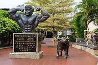 Gan Boon Leong Statue, Father of Malaysian Bodybuilding, Melaka, Malaysia.