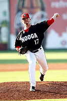 Sam Clay (17) of the Chattanooga Lookouts delivers a pitch in the game against the Mobile BayBears on June 3, 2018 at AT&T Field in Chattanooga, Tennessee. (Andy Mitchell/Four Seam Images)