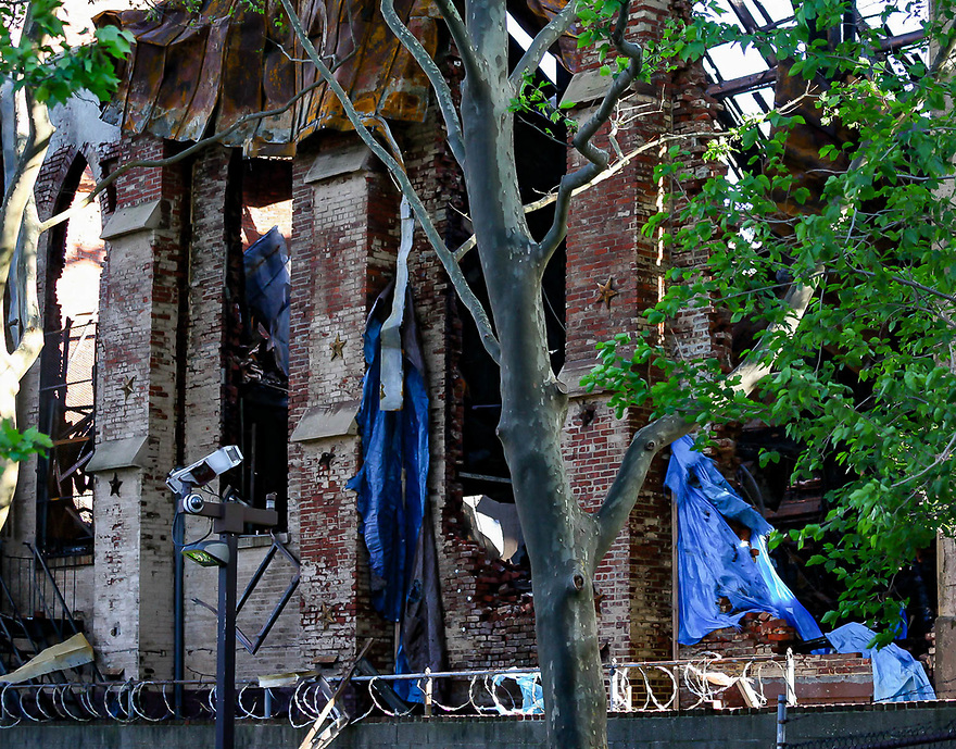 Side view, Historic synagogue Beth Hamedrash Hagodol at 60 Norfolk Street on NYC's Lower East Side on May 16, 2017, one day after it was destroyed by fire set by arsonist.