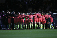 Manchester City players huddle during Arsenal Women vs Manchester City Women, FA Women's Continental League Cup Football at Meadow Park on 29th January 2020