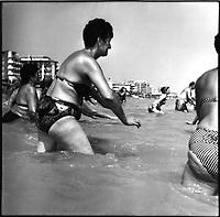 Italy, Adriatic coast, Riviera Adriatica, spiaggia di Bellaria, stabilimento balneare, lido, Bellaria's beach